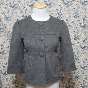 Halogen 100% Wool Peplum Jacket Blazer Coat